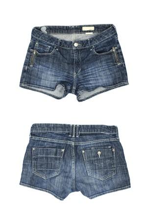 denim shorts: blue denim shorts isolated on white Stock Photo