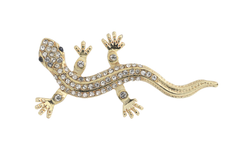 lizard: lizard brooch isolated on white Stock Photo