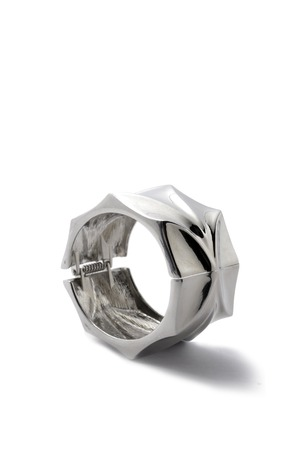 wristlet: silver bracelet  on a white background Stock Photo