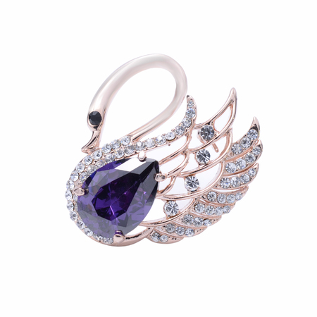spinel: Swan brooch isolated on white Stock Photo