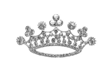 corona princesa: broche corona aislado en blanco Foto de archivo