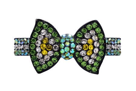 brooch: brooch with green bow isolated on white