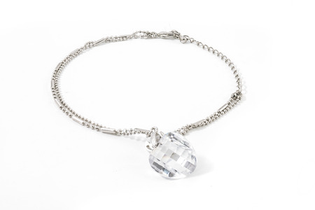 coulomb: silver bracelet with big stone isolated white Stock Photo