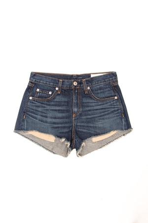 denim shorts: denim shorts on a white background Stock Photo