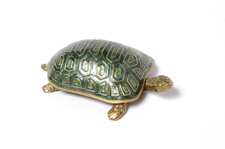 casket: casket turtle isolated on white Stock Photo