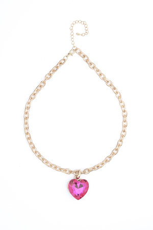 coulomb: Pendant with pink heart  isolated on white