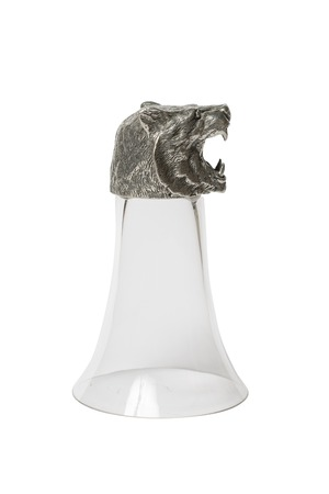 an unusual: unusual glass with a tiger head