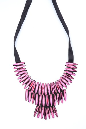 rubellite: Necklace with gemstones on a white background