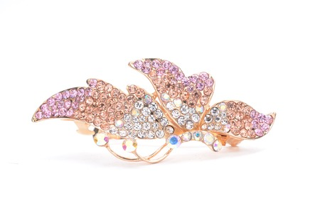brooch: brooch with two butterflies isolated on white