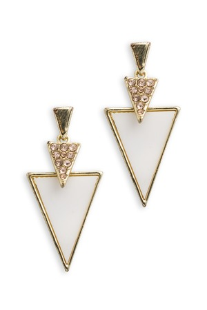 gold earrings with triangles isolated on white