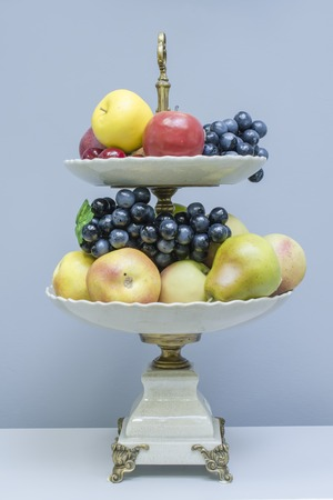 tier: two tier stand with  fruits