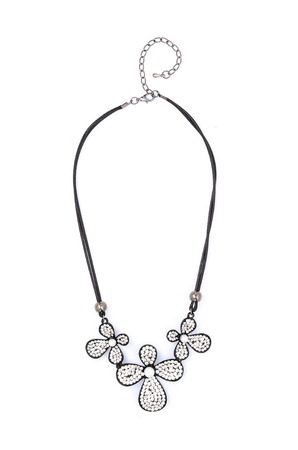 finery: Silver necklace with flowers isolated on white