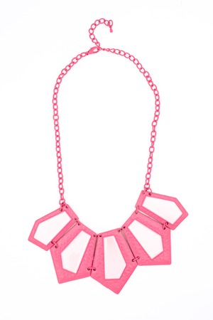pink necklace isolated on white