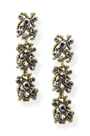 onyx: gold earrings with onyx isolated on white