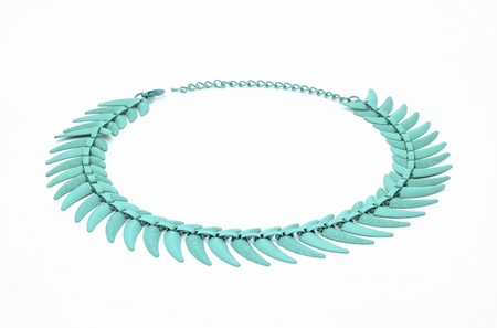 coulomb: turquoise necklace isolated on white Stock Photo