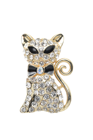 jewel: brooch cat isolated on white Stock Photo