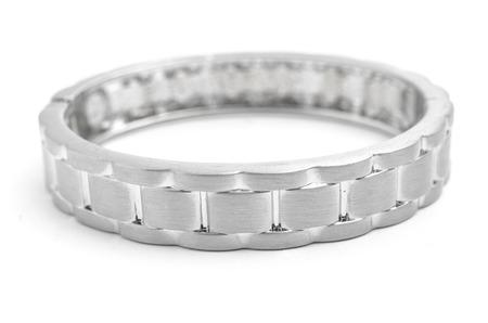 round collar: silver bracelet strap on a white background