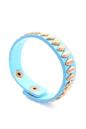iron hoops: blue leather bracelet on a white background