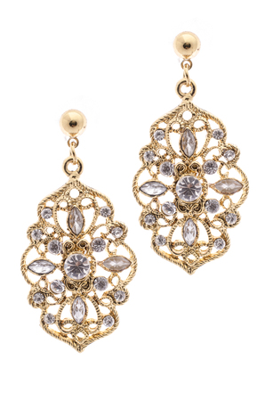 inlaid: Gold earrings inlaid with precious stones on a white background