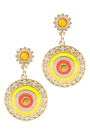 inlaid: Round gold earrings inlaid with  gemstones on a white background Stock Photo