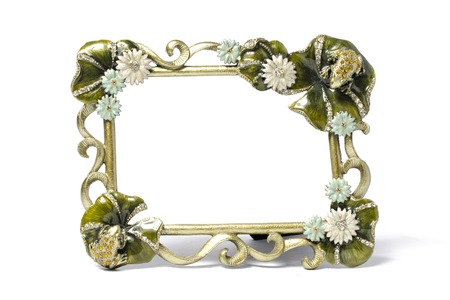 singular: Frame decorated with flowers and jewels Stock Photo