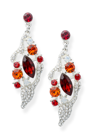 pietre preziose: silver earrings with precious stones isolated on white