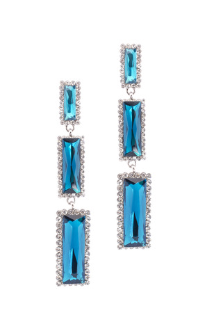 inlaid: Blue earrings inlaid with precious stones on a white background