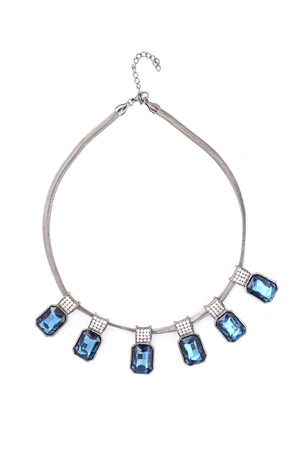 stones isolated: necklace with blue stones isolated on white