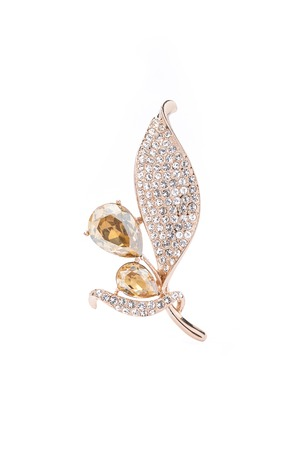luxe: gold leaf brooch with topaz and diamonds on white background Stock Photo