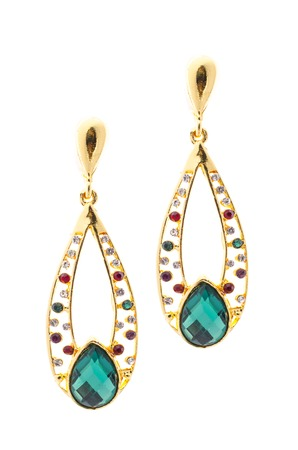 dearness: Gold earrings inlaid with  gemstones on a white background Stock Photo