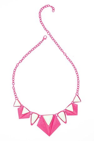 coulomb: pink necklace isolated on white