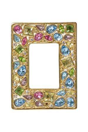 piedras preciosas: incrustaciones de marco de oro con piedras preciosas Foto de archivo