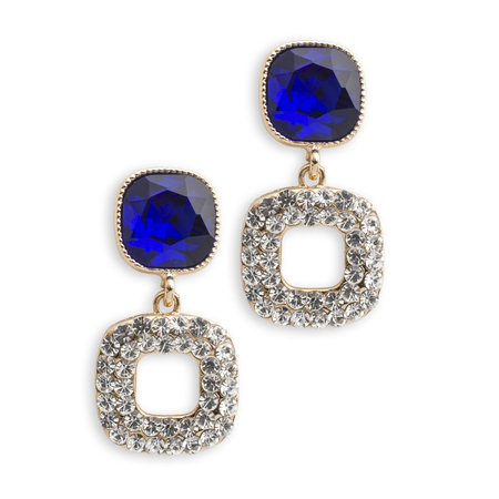 sapphire: gold earrings with sapphire isolated on white