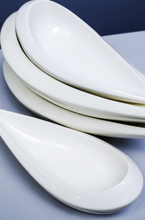an unusual: Plates unusual shape Stock Photo