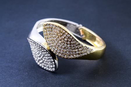 armlet: Bracelet with diamonds isolated on white