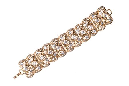 armlet: Gold bracelet with diamonds on a white background