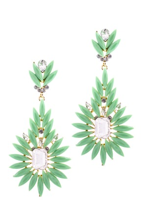 sumptuousness: Green earrings inlaid with precious stones on a white background Stock Photo