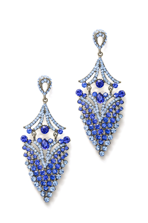 sumptuousness: earrings with blue stones isolated on white background