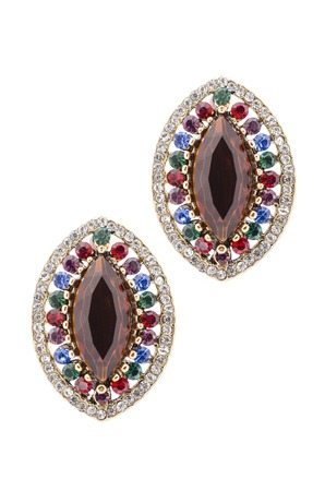 sumptuousness: Gold earrings inlaid with  gemstones on a white background Stock Photo