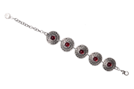 armlet: Silver bracelet with rubies on a white background