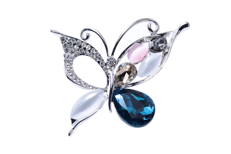 brooch with butterfly isolated on white