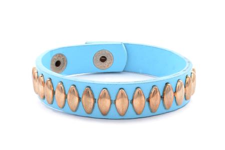 circlet: blue leather bracelet on a white background