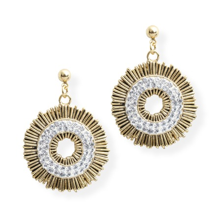 jewellery: gold earrings with diamonds isolated on white Stock Photo