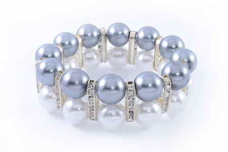 armlet: bracelet with pearls isolated on white Stock Photo