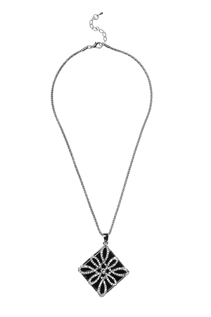 coulomb: pendant  black rombus with diamonds on a white background Stock Photo