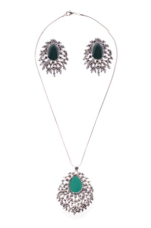 coulomb: set of necklace and earrings on a white background