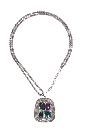 coulomb: silver pendant with colored gems on a white background
