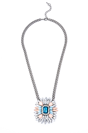 coulomb: pendant with flower and blue gem  on a white background