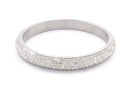 bride bangle: silver bracelet with diamonds on a white background