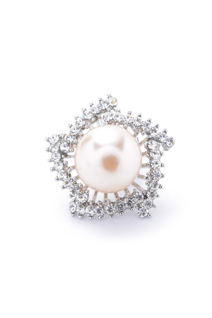 broach: brooch with pearl on white background